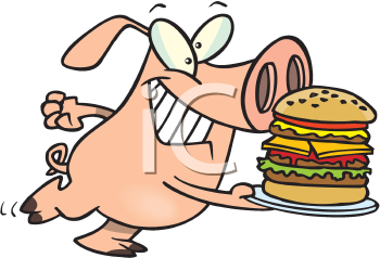 Royalty Free Clipart Image of a Pig With a Burger