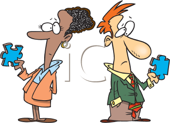 Royalty Free Clipart Image of a Couple of Puzzled People
