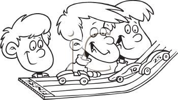 Royalty Free Clipart Image of Children at a Model Car Rally