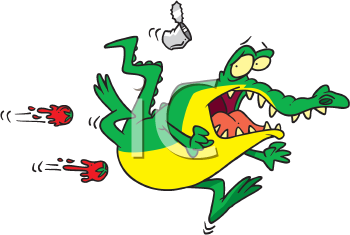 Royalty Free Clipart Image of a Gator Running Away From Things Being Thrown