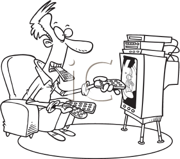 Royalty Free Clipart Image of a Man Using Several Remotes