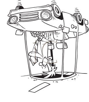 Royalty Free Clipart Image of a Man in an Upside Down Car