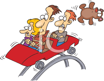 Royalty Free Clipart Image of People on a Roller Coaster
