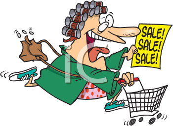 Royalty Free Clipart Image of a Woman Shopping for Sales