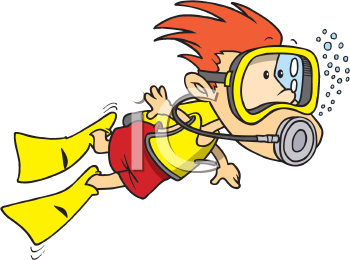 Royalty Free Clipart Image of a Snorkeller