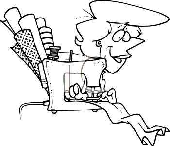 Royalty Free Clipart Image of a Woman Sewing