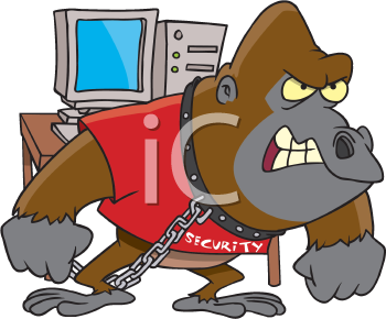 Royalty Free Clipart Image of a Gorilla on Security Detail