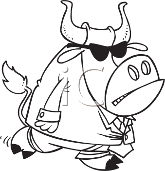 Royalty Free Clipart Image of a Bull in a Suit