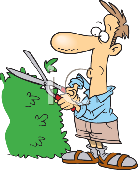 Royalty Free Clipart Image of a Man Trimming a Hedge