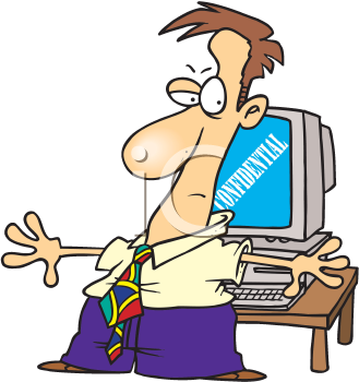 Royalty Free Clipart Image of a Man Hiding the Computer