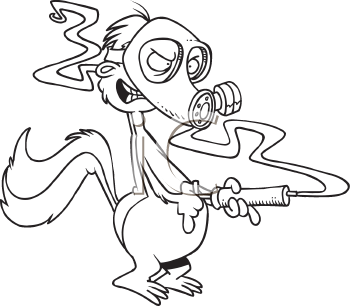 Royalty Free Clipart Image of a Skunk With a Gas Mask