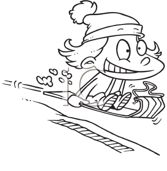Royalty Free Clipart Image of a Girl on a Toboggan
