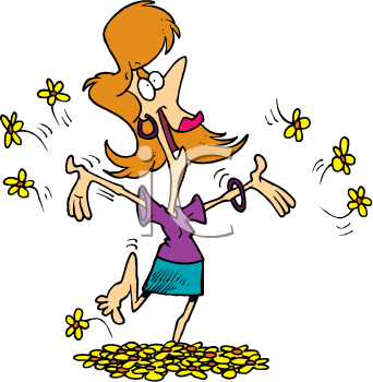 Royalty Free Clipart Image of a Woman Playing Barefoot in Flowers