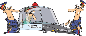 Royalty Free Clipart Image of Two Police Officers With a Prisoner in the Back of a Squad Car