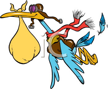 Royalty Free Clipart Image of a Stork With a Bag