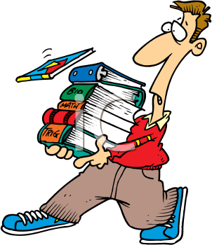 Royalty Free Clipart Image of a Man Carrying a Pile of Books