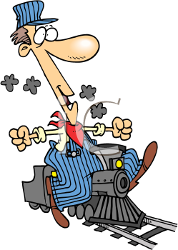 Royalty Free Clipart Image of an Engineer on a Toy Locomotive