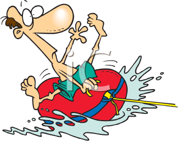 Royalty Free Clipart Image of a Man on a Dinghy