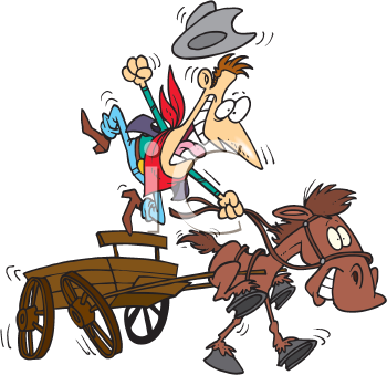 Royalty Free Clipart Image of a Cowboy Riding a Wagon