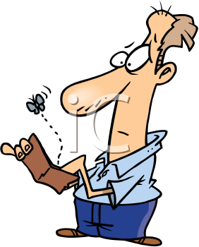 Royalty Free Clipart Image of a Man Opening an Empty Wallet