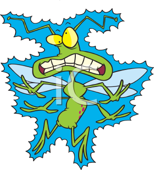 Royalty Free Clipart Image of a Zapped Bug