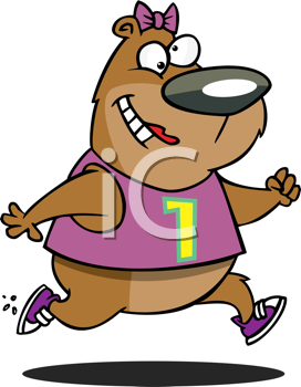 Royalty Free Clipart Image of a Running Bear