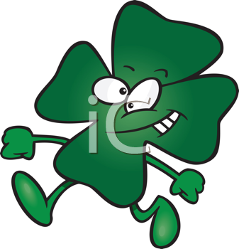 Royalty Free Clipart Image of a Running Four-Leaf Clover