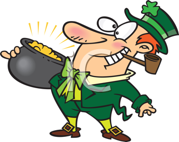 Royalty Free Clipart Image of a Leprechaun With a Pot of Gold