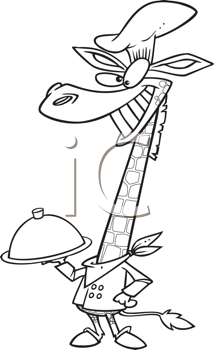 Royalty Free Clipart Image of a Giraffe Chef