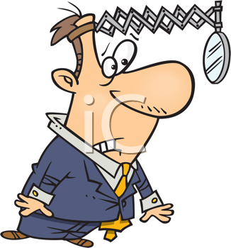 Royalty Free Clipart Image of a Man With a Mirror On His Head