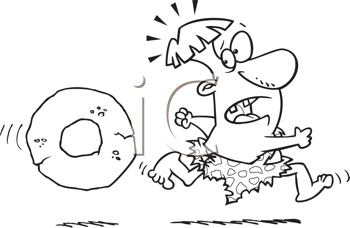 Royalty Free Clipart Image of a Prehistoric Man Being Chased By a Wheel