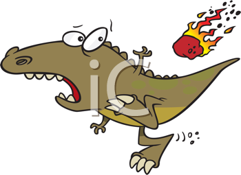 Royalty Free Clipart Image of a Meteor Flying Towards an Alligator