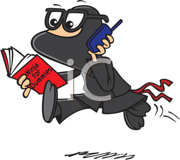 Royalty Free Clipart Image of a Ninja Turtle With Glasses, a Cellphone and a Book