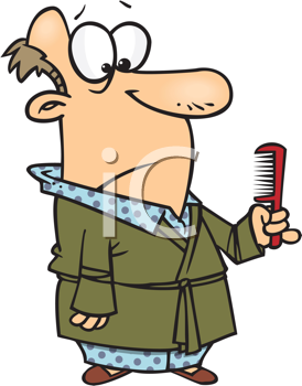 Royalty Free Clipart Image of a Bald Man With a Comb