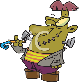 Royalty Free Clipart Image of a Man in a Frankenstein Costume