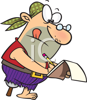 Royalty Free Clipart Image of a Nerdy Pirate With Glasses and a Notepad