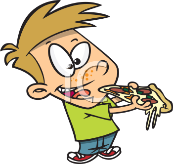 Royalty Free Clipart Image of a Boy Eating a Slice of Pizza