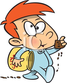 Royalty Free Clipart Image of a Child Eating a Cookie and Leaving Crumbs Behind Him