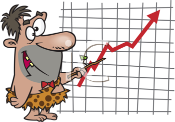 Royalty Free Clipart Image of a Caveman With a Chart