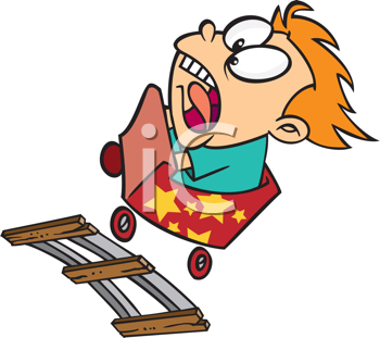Royalty Free Clipart Image of a Screaming Child on a Roller Coaster
