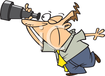 Royalty Free Clipart Image of a Guy Looking Through a Telescope