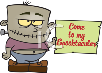 Royalty Free Clipart Image of a Frankenstein Child With an Invitation