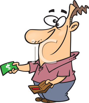 Royalty Free Clipart Image of a Guy Taking Money From His Wallet