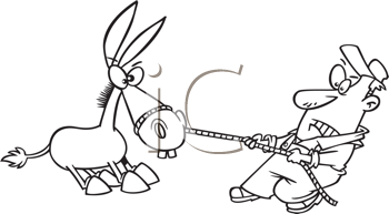 Royalty Free Clipart Image of a Man Pulling a Stubborn Mule