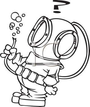 Royalty Free Clipart Image of a Guy in an Underwater Suit Holding a Broken Hose