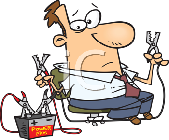 Royalty Free Clipart Image of a Man With Battery Cables