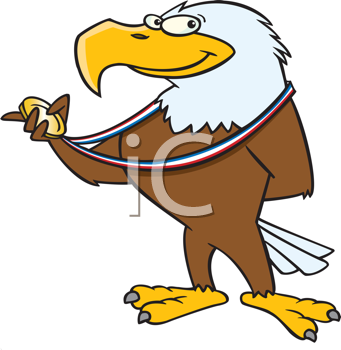Royalty Free Clipart Image of an Eagle With a Medal
