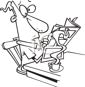 Royalty Free Clipart Image of a a Guy Drinking Coffee and Reading the Newspaper