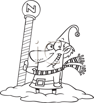 Royalty Free Clipart Image of an Elf at the North Pole