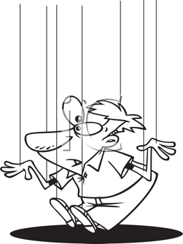 Royalty Free Clipart Image of a Guy Being Held By Strings